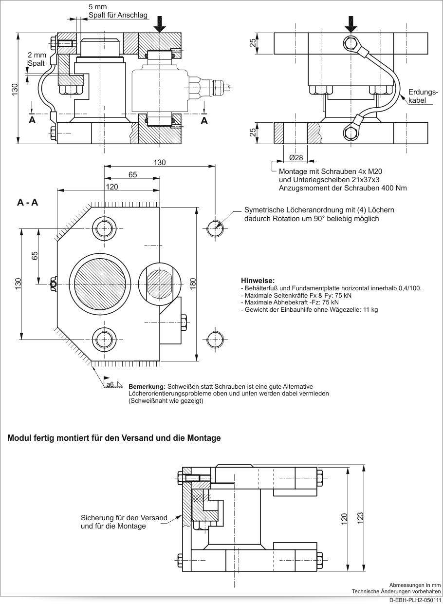 Wägezellen-Einbauhilfe PLH2 - Technische Daten